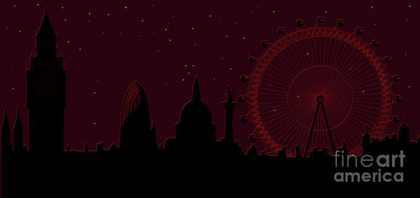 Famous Places Digital Art - panorama of London by Michal Boubin