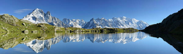 Chamonix Wall Art - Photograph - Panorama Of Mont Blanc Range Reflecting by Andreas Strauss / Look-foto