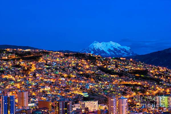 Montain Photograph - Panorama Of Night La Paz Bolivia by Konstantin Kalishko
