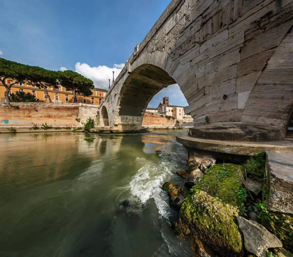 Tiber Island Wall Art - Photograph - Panorama Of Tiber Island And Cestius Bridge Over Tiber River by Andrey Omelyanchuk