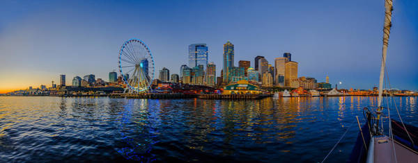Elliot Bay Wall Art - Photograph - Panorama Seattle Ferris Wheel Skyline by Scott Campbell