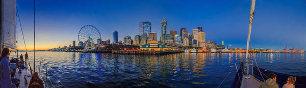 Elliot Bay Wall Art - Photograph - Panorama Seattle Skyline 2 Boats And A Ferris Wheel by Scott Campbell