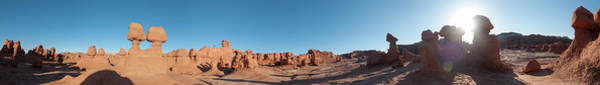 Goblin Valley State Park Photograph - Panorama With Tiny Person Standing by Kennan Harvey