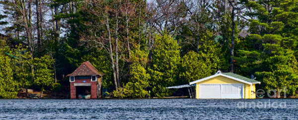 Photograph - Panorama With Two Boathouses by Les Palenik