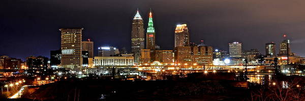Metro Detroit Photograph - Panoramic Cleveland by Frozen in Time Fine Art Photography