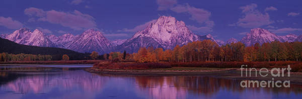 Photograph - Panoramic Fall Morning Oxbow Bend Grand Tetons National Park Wyoming by Dave Welling