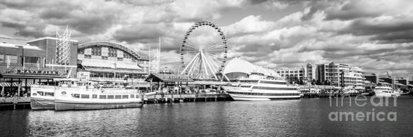 Chicago Art Photograph - Panoramic Navy Pier Black And White Photo by Paul Velgos