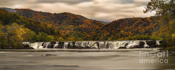 Photograph - panoramic of Sandstone Falls in the Fall by Dan Friend