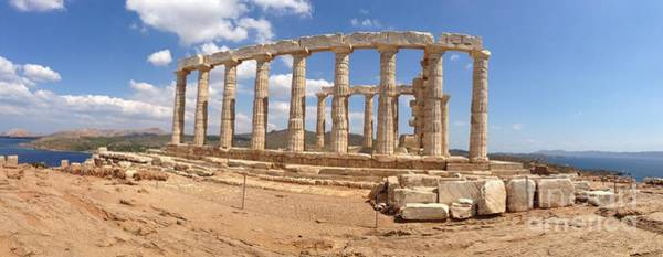 Photograph - Panoramic Of The Temple Of Poseidon by Denise Railey