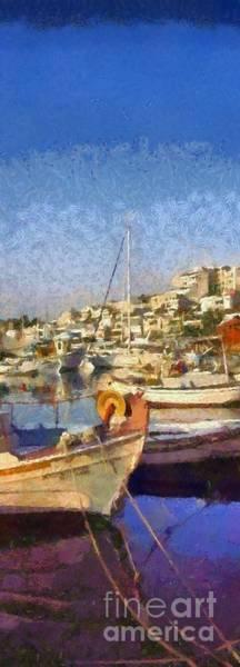 Wall Art - Painting - Panoramic Painting Of Mikrolimano Port by George Atsametakis