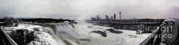 Photograph - Panoramic Photo Of Niagara Falls Partially Frozen Over by Rose Santuci-Sofranko