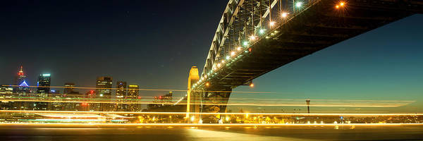 Photograph - Panoramic Photo Of Sydney Harbour Bridge Night Scenery by Yew Kwang