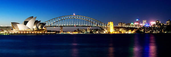Photograph - Panoramic Photo Of Sydney Night Scenery by Yew Kwang
