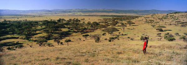 Nature Conservancy Photograph - Panoramic View As Masai Warrior In Red by Panoramic Images