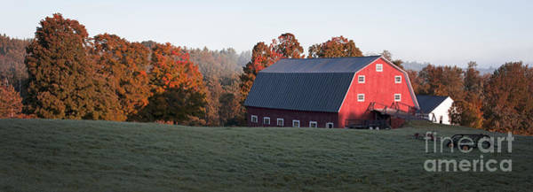 Photograph - Panoramic View Of A Red Barn At Sunrise by Edward Fielding