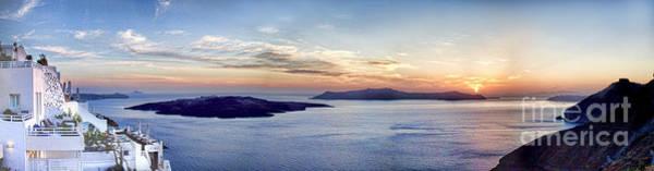 Greek Islands Wall Art - Photograph - Panorama Santorini Caldera At Sunset by David Smith
