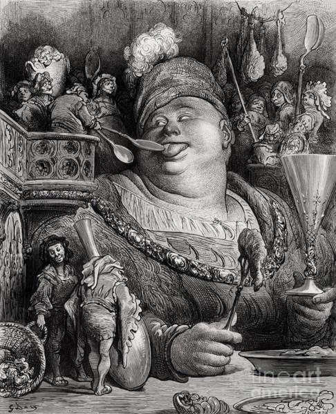 Maid Drawing - Pantagruels Meal by Paul Jonnard Pacel