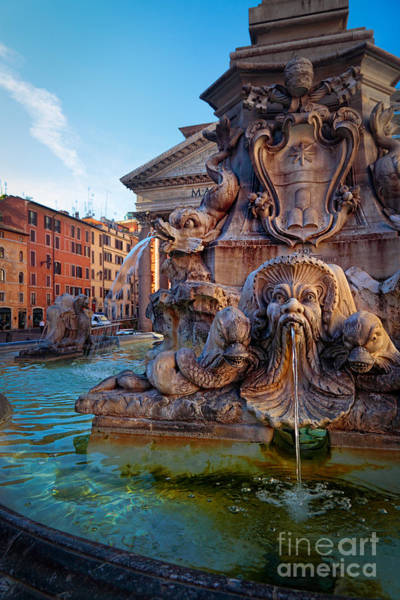 Rome Photograph - Pantheon Fountain by Inge Johnsson