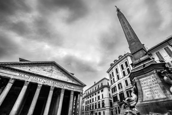 Konica Wall Art - Photograph - Pantheon Square Rome Italy by Giuseppe Milo