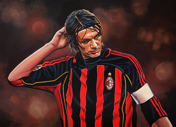Italian Football Wall Art - Painting - Paolo Maldini by Paul Meijering