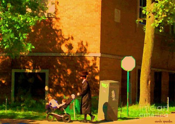 Painting - Papa And The Little Ones Sunday Afternoon Stroll On The Avenues Montreal City Scene Carole Spandau by Carole Spandau