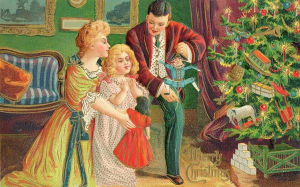 Christmas Tree Drawing - Papa, Mama And Their Little  Girl by Mary Evans Picture Library