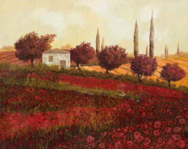 Red Poppies Wall Art - Painting - Papaveri In Toscana by Guido Borelli