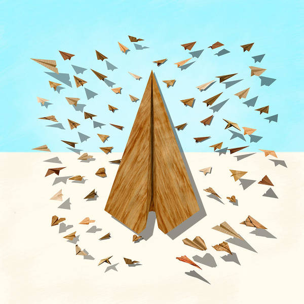 Glider Wall Art - Digital Art - Paper Airplanes Of Wood 10 by YoPedro