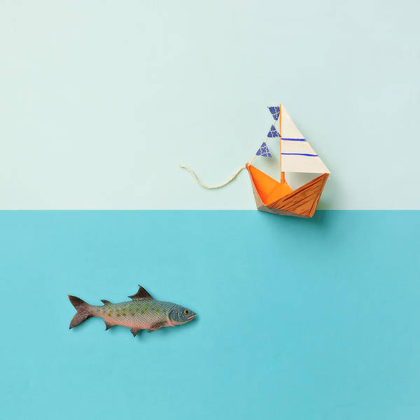 Fun Photograph - Paper Boat And Toy Fish by Juj Winn