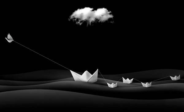 Black Cloud Photograph - Paper Boats by Sulaiman Almawash