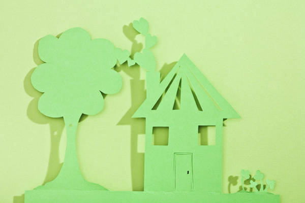 Environmental Issue Wall Art - Photograph - Paper Cut Out Of House And Tree by Duel