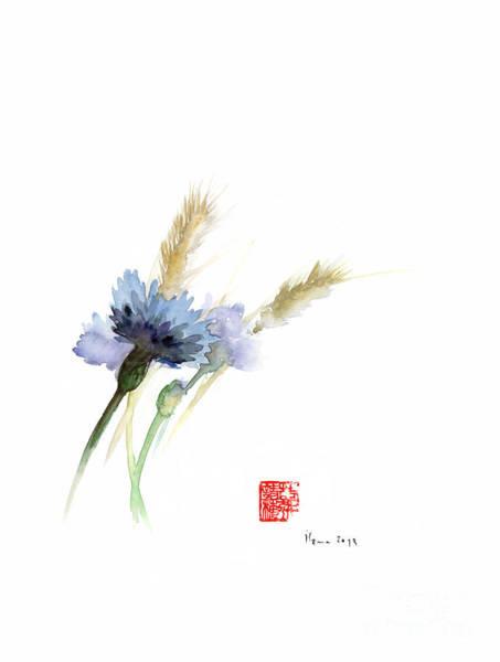Wall Art - Painting - Paper Field Cornflower Cornflowers Blue Yellow Green Watercolor Painting by Johana Szmerdt