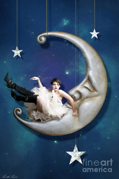 Wall Art - Digital Art - Paper Moon by Linda Lees