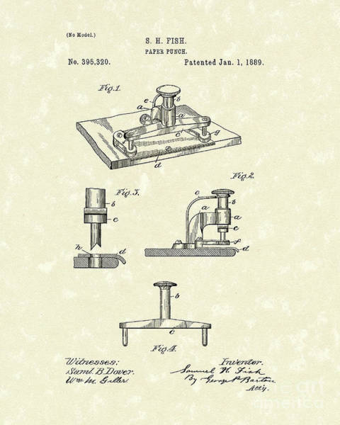 Drawing - Paper Punch 1889 Patent Art by Prior Art Design