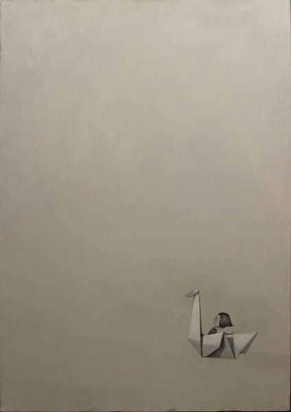 Origami Painting - Paper Swan by Konrad Geel