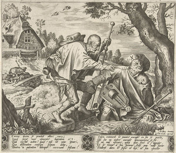Mat Drawing - Parable Of The Two Blind, Pieter Van Der Heyden by Pieter Van Der Heyden And Hieronymus Cock