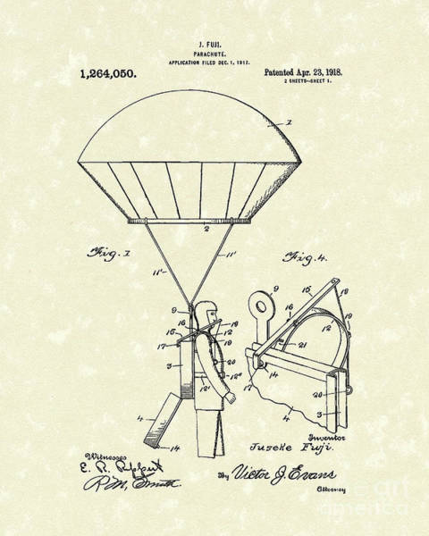 Wall Art - Drawing - Parachute 1918 Patent Art  by Prior Art Design