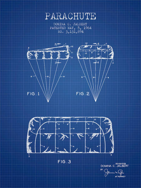 Skydive Wall Art - Digital Art - Parachute Design Patent From 1964 - Blueprint by Aged Pixel