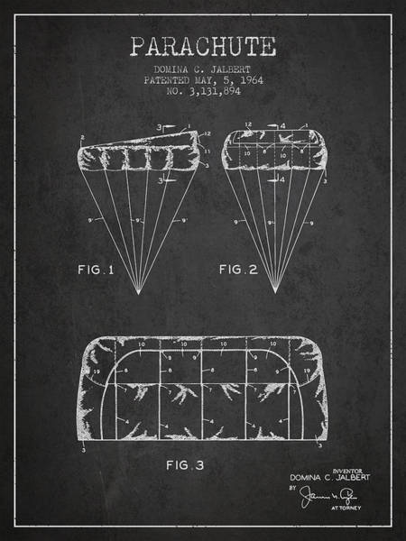 Wall Art - Digital Art - Parachute Design Patent From 1964 - Dark by Aged Pixel