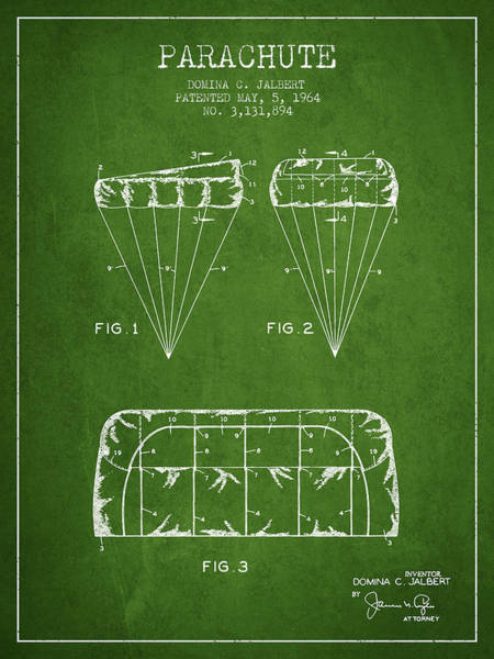 Wall Art - Digital Art - Parachute Design Patent From 1964 - Green by Aged Pixel