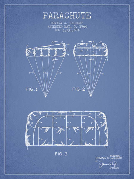 Skydive Wall Art - Digital Art - Parachute Design Patent From 1964 - Light Blue by Aged Pixel