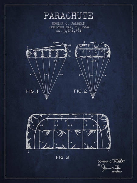 Wall Art - Digital Art - Parachute Design Patent From 1964 - Navy Blue by Aged Pixel