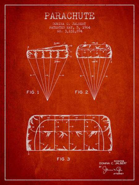 Wall Art - Digital Art - Parachute Design Patent From 1964 - Red by Aged Pixel