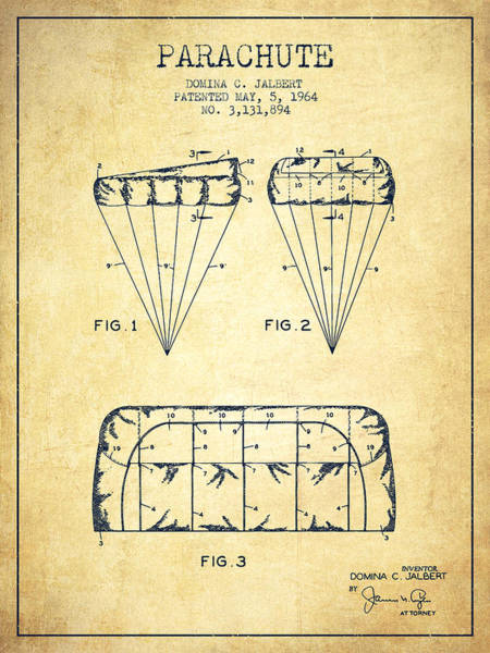 Wall Art - Digital Art - Parachute Design Patent From 1964 - Vintage by Aged Pixel