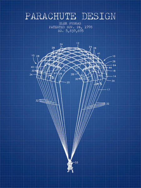Skydive Wall Art - Digital Art - Parachute Design Patent From 1998 - Blueprint by Aged Pixel