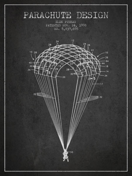 Wall Art - Digital Art - Parachute Design Patent From 1998 - Dark by Aged Pixel