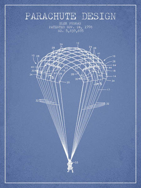 Skydive Wall Art - Digital Art - Parachute Design Patent From 1998 - Light Blue by Aged Pixel