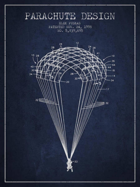 Wall Art - Digital Art - Parachute Design Patent From 1998 - Navy Blue by Aged Pixel