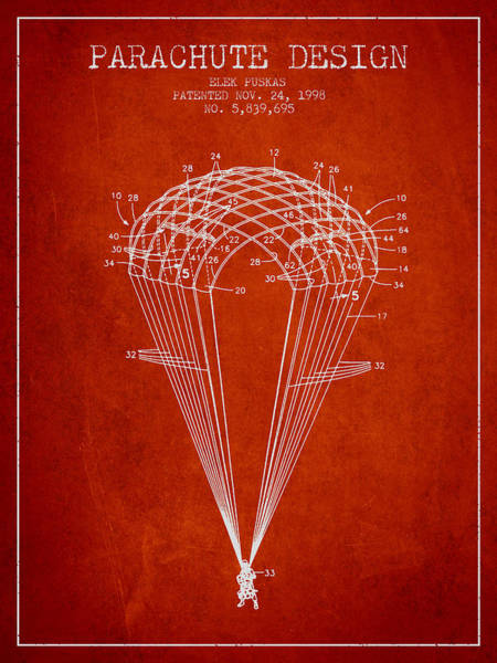 Wall Art - Digital Art - Parachute Design Patent From 1998 - Red by Aged Pixel