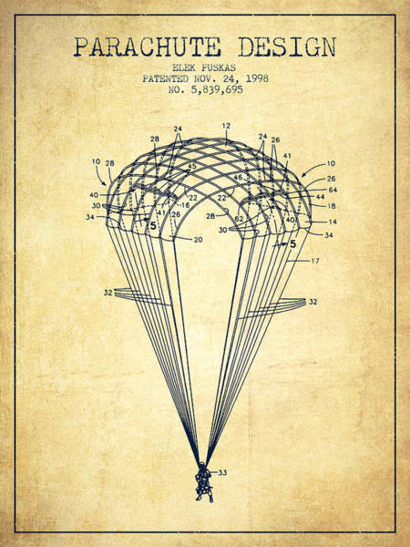 Wall Art - Digital Art - Parachute Design Patent From 1998 - Vintage by Aged Pixel